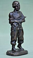 "Vintage 10"" Solid Cast Bronze WW2 Army Soldier Statue Figurine Militaria"