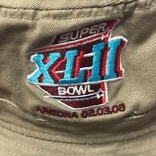 NFL GIANTS Super Bowl XLII Arizona 2008 Reebok Staff Bucket Hat NEW Beige