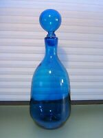 """Mid Century Blue Art Glass Ball Stopper Decanter Bottle 13"""" Blenko?"""