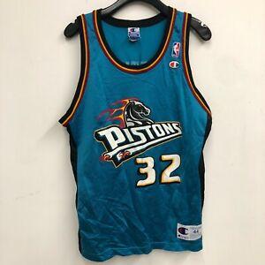 Vintage 90s Champion Detroit Pistons Christian Laettner NBA Jersey Mens SZ L D4