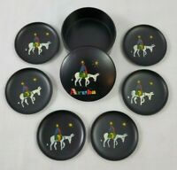 VINTAGE ARUBA Round Drink Coasters In Holder Set/6 Man Riding Donkey/Burrow