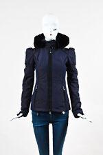 Fendi Dark Purple Nylon Quilted Black Sheared Fur Hooded Ski Coat SZ 38