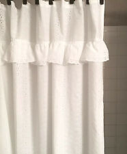 White Eyelet Shower Curtain Ruffle Embroidery Scalloped Shabby Chic Style 68x68""
