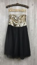 Charlotte Russe Gold Dress Size Small Party Shiny Strapless Sequin Full Tulle