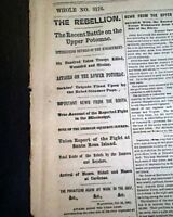 Battle of BALL'S BLUFF Virginia & Santa Rosa Island FL 1861 Civil War Newspaper