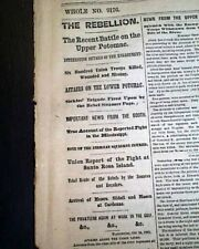 Battle of Ball'S Bluff Virginia & Santa Rosa Island Fl 1861 Civil War Newspaper