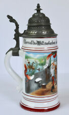ANTIQUE Beer Stein OCCUPATIONAL Germany BUTCHER Hand Painted LITHOPHANE
