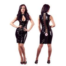 Sexy PVC look Black Faux Leather Gothic Fetish Bondage Cocktail dress 6712
