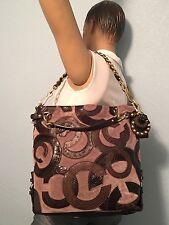 Coach Brooke Inlaid C Leather Suede LARGE Hobo Shoulder Bag 14340 LTD EUC