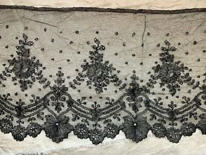 Gorgeous French Victorian Chantilly lace edging 220cm by 24cm - Floral design