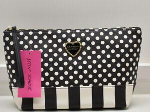 Betsey Johnson T Bottom Cosmetic Case Bag Wristlet Makeup Polka Dot New NWT