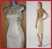 MONSOON Gold Metallic Jacquard Embellished Open Back Tailored Cocktail Dress 12