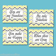 Yellow and Gray Chevron Zigzag Prints Wall Art YOU ARE MY SUNSHINE Nursery Decor