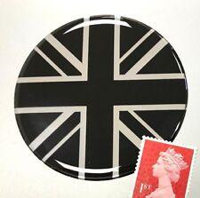 Union Jack Flag Sticker Domed Finish Black & Chrome 65mm Diameter