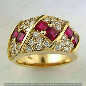 2.5CT Princess Ruby & Round Diamond Men's Cluster Band Ring 14k Yellow Gold Over