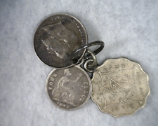 GREAT BRITAIN 2 SILVER COINS + INDIA 1 ANNA 1901  : 3 COINS (stock# 676)