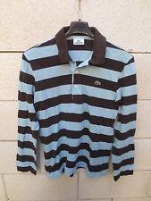 Polo LACOSTE Devanlay marron bleu ciel rayé shirt 3 manches longues