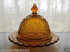 Tiara Indiana Glass Amber Sandwich Round Butter Cheese Dish & Cover