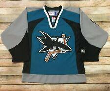 SAN JOSE SHARKS Jersey 2001-2007 Sewn CCM NHL Hockey Teal Youth Small Womens XS