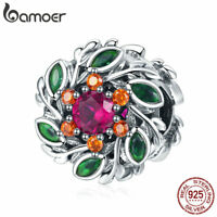 BAMOER .925 Sterling silver Charm Hope Wreath With Red CZ For Bracelet Jewelry
