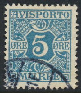Denmark Scott P2v/AFA AP2a, 5ø greenish-blue Newspapers, F-VF used