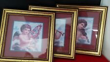 """Home Interiors and Gifts 3 Playing Instruments  Cherubs Print Framed 7.5x7.5"""""""