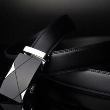 Mens Black Leather Ratchet Belt Automatic Buckle Silver Waistband Strap Waist