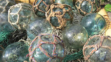 "Japanese Glass Fishing FLOATS 3-3.5"" Mixed Lot 30 Netted/Plain Nautical BULK"