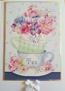 Thank You Card - featuring teacups and flowers