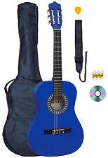 PALMA 3/4 tailles bleu guitare classique Kit Sac Inc, sangle, cordes et