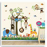 Monkey Owl Animal Wall Stickers Jungle Zoo Tree Nursery Baby Bedroom Decals Art