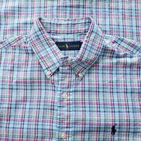 Ralph Lauren Mens Light Blue Pink Plaid Button Down shirt Large Cotton EUC