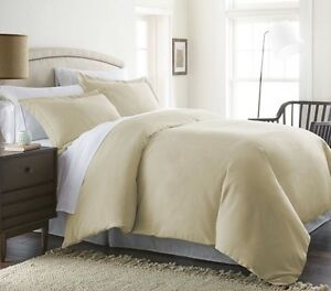 Home Collection Luxury 3 pc Duvet Cover Set Full/Queen Beige