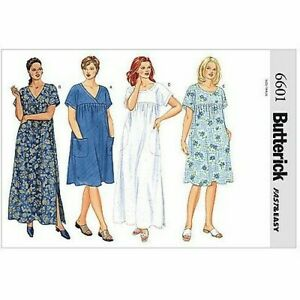 Butterick 6601 Sz 16-32 House Dress Nightgown Pockets Plus Size Mumu Pattern