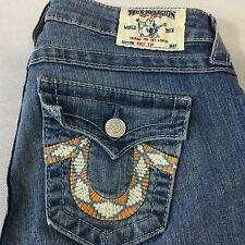 TRUE RELIGION JOEY Flared Boot Cut Jeans Size 25 x 33 Low Rise Embossed