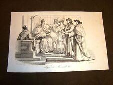 Incisione rame del 1851 Lega Italica o Santa di Alessandro VI controi Carlo VIII
