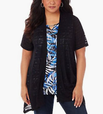 CATHERINES BLACK SHORT SLEEVE BURN OUT STRIPED OPEN FRONT CARDIGAN Sz 3X 26/28W