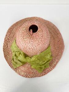 Helena Frost Fiberglass Handmade Hat Birdhouse Pink Green Stripe