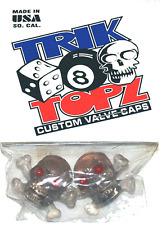 Trick Top Schrader Valve Caps / Clear Skulls NEW!
