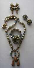 Hobe Parure Necklace Bracelet 2 Pair Earrings Beads AB & Glass Turquoise Rondels