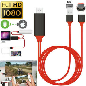 1080P Phone to Digital TV HDTV AV HDMI Mirroring Cord Adapter For iPhone Android