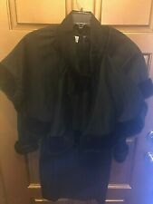Rare Vintage Billy Bo Designs Black Wool Dress w/Cape or Skirt Accessory - Small