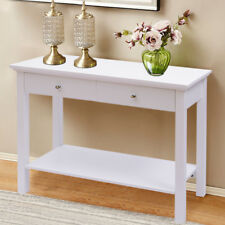 Modern White Console Dressing Table Office Desk 2 Drawers 1 Shelf Wall Side Unit