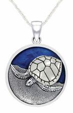 Nuevo 0.925 Plata de Ley Esmaltado Mar Tortuga Charm Animal Collar con Colgante