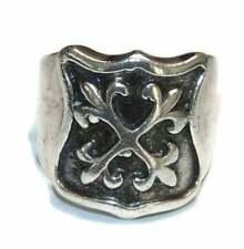 925 Vintage Heavy Men's Rocker Biker Crest Shield Fleur De Lis Signet Ring Sz 11