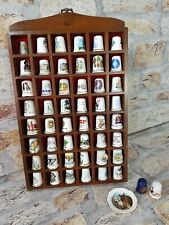 Set Of 50 Thimbles In Display Case