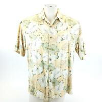 Banana Cabana Hawaiian Silk Mens Camp Shirt Medium Floral Palm Tree