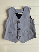Jojo Maman Bebe Age 3-4 years Blue White Striped Cotton Waistcoat Button Detail