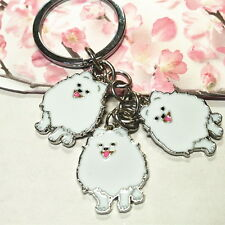 Pom Eskie German Spitz Dog Inspired Petite Key Ring Chain Enamel Japanese Americ