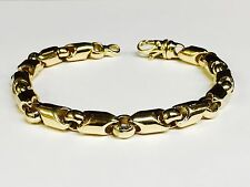 "10kt Yellow Gold handmade Link men's Chain Bracelet 10.25"" 8 MM  53 grams"